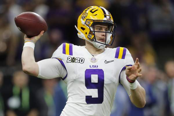 Associated Press  LSU quarterback Joe Burrow passes against Clemson during the second half of a NCAA College Football Playoff national championship game Monday, Jan. 13, 2020, in New Orleans.