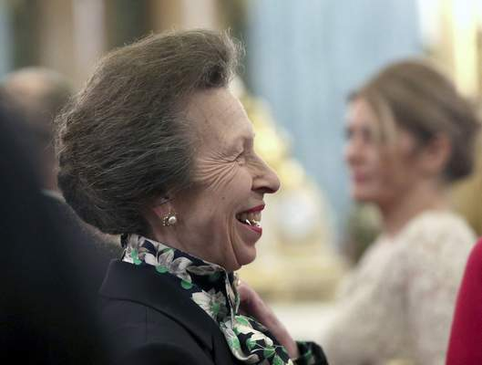 FILE - In this Tuesday, Dec. 3, 2019 file photo, Britain's Princess Anne talks to guests during a reception at Buckingham Palace, as NATO leaders gather to mark 70 years of the alliance, in London. (Yui Mok/Pool Photo via AP, File)
