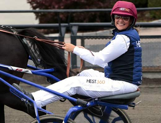 FILE - In this Thursday, Aug. 23, 2018 file photo, Norway's Princess Martha Louise during her exam race to become a licensed trotting driver, in Oslo. (Lise Aserud/NTB Scanpix via AP, File)