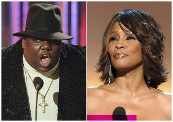 This combination photo shows Notorious B.I.G., who won rap artist and rap single of the year, during the annual Billboard Music Awards in New York on Dec. 6, 1995, left, and singer Whitney Houston at the BET Honors in Washington on Jan. 17, 2009. (AP Photo)