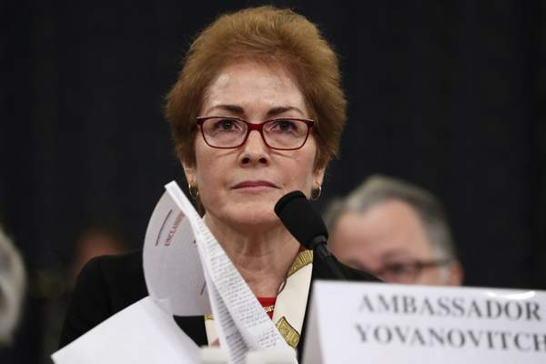 FILE - In this file photo dated Friday, Nov. 15, 2019, former U.S. Ambassador to Ukraine Marie Yovanovitch testifies before the House Intelligence Committee on Capitol Hill in Washington. (AP Photo/Andrew Harnik, FILE)