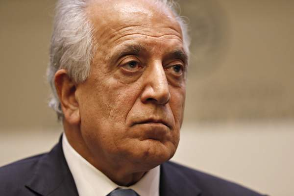 FILE - In this Feb. 8, 2019, file photo, Special Representative for Afghanistan Reconciliation Zalmay Khalilzad pauses while speaking about the prospects for peace, at the U.S. Institute of Peace, in Washington. (AP Photo/Jacquelyn Martin, File)
