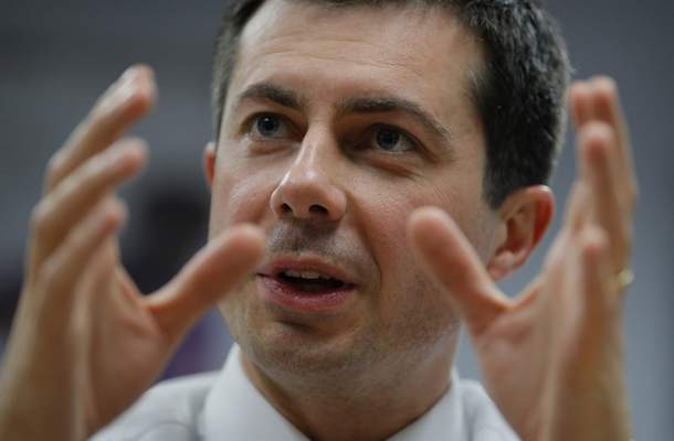 FILE - In this Dec. 20, 2019, file photo, Democratic presidential candidate then- South Bend, Ind., Mayor Pete Buttigieg speaks at a town hall event with Asian American and Pacific Islander voters in Las Vegas. (AP Photo/John Locher, File)