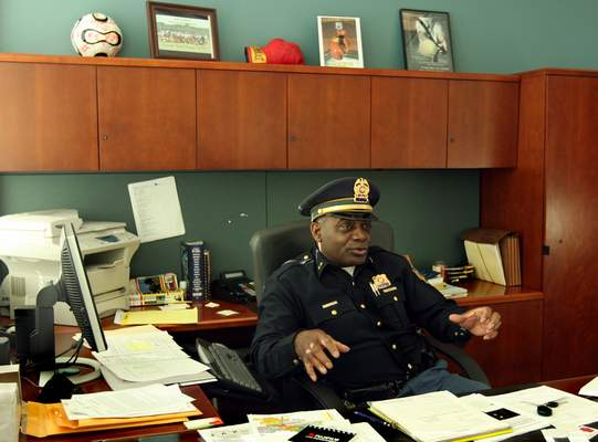 In this Jan. 3, 2008, file photo, Darryl Boykins, South Bend's new police chief, discusses his goals and his approach to the job. When Pete Buttigieg got rid of South Bend's black police chief Darryl Boykins, it set off a flurry of anger in the Indiana city. (Shayna Breslin/South Bend Tribune via AP)
