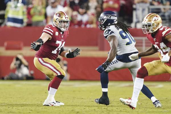 Associated Press Veteran tackle Joe Staley is the linchpin of the San Francisco 49ers offensive line that sports a potent running attack.