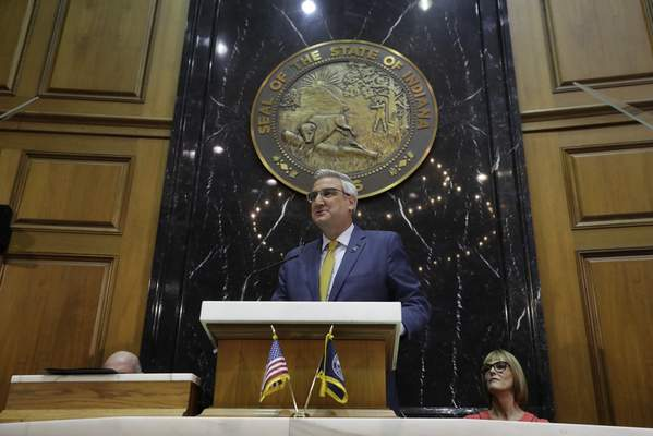 Associated Press Gov. Eric Holcomb delivers his State of the State address Tuesday at the Statehouse in Indianapolis.