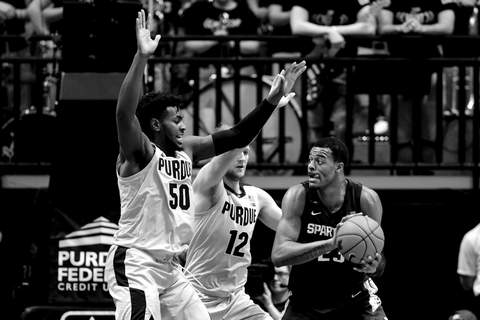 Michigan St Purdue Basketball Associated Press Purdue's defense made life tough for Michigan State on Sunday, including Spartans forward Xavier Tillman, in winning 71-42 at Mackey Arena. The Boilermakers will need similar defense today at Maryland. (Michael ConroySTF)