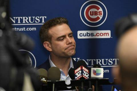 Chicago Cubs Convention Chicago Cubs president of baseball operations Theo Epstein speaks to the media during the baseball team's convention, Friday, Jan. 17, 2020, in Chicago. (AP Photo/Paul Beaty) (Paul Beaty