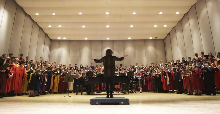 Photos by Katie Fyfe | The Journal Gazette The All-State Honor Choir prepares for its evening performance Saturday at Embassy Theatre. The choir was one of 17 performances to take place during the three-day conference.