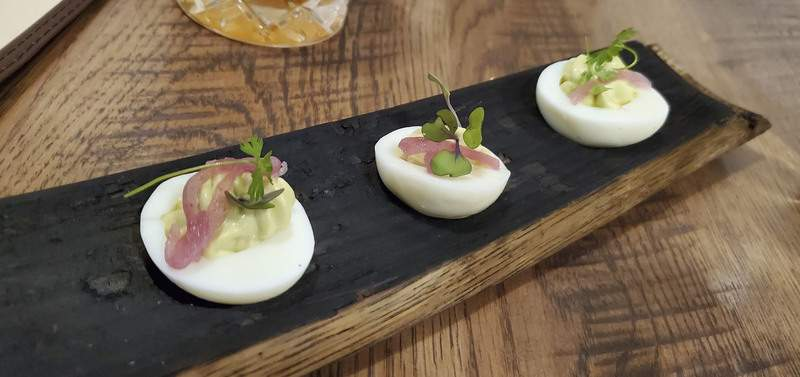 Avocado filled deviled eggs from Three Rivers Distilling Co. on Wallace St.
