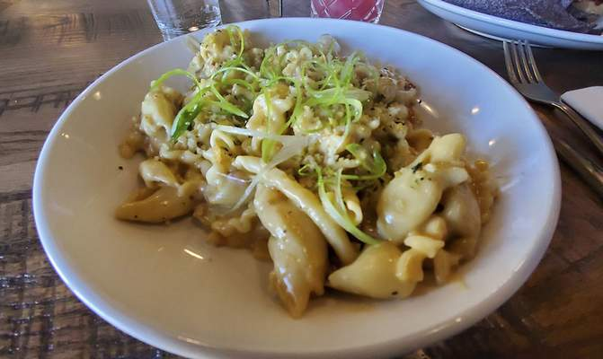 Mac and cheese from Three Rivers Distilling Co. on Wallace St.