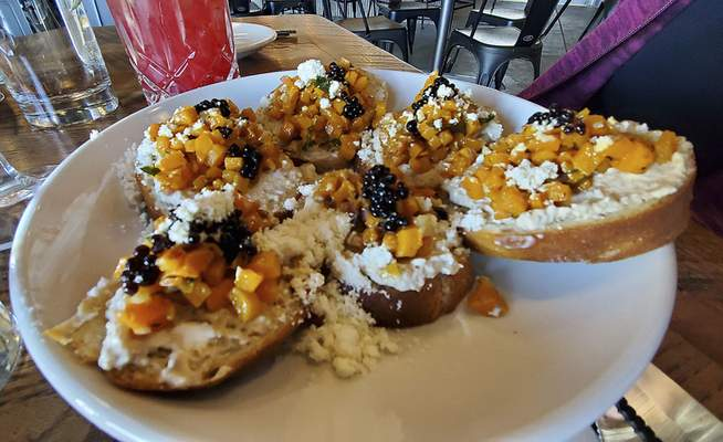 Bruschetta from Three Rivers Distilling Co. on Wallace St.