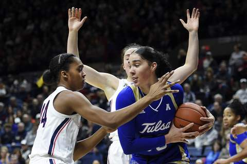 Tulsa UConn Basketball Tulsa's Kendrian Elliott (00) grabs a rebound from Connecticut's Aubrey Griffin (44) during the first half of an NCAA college basketball game Sunday, Jan. 19, 2020, in Storrs, Conn. (AP Photo/Stephen Dunn) (Stephen Dunn FRE)