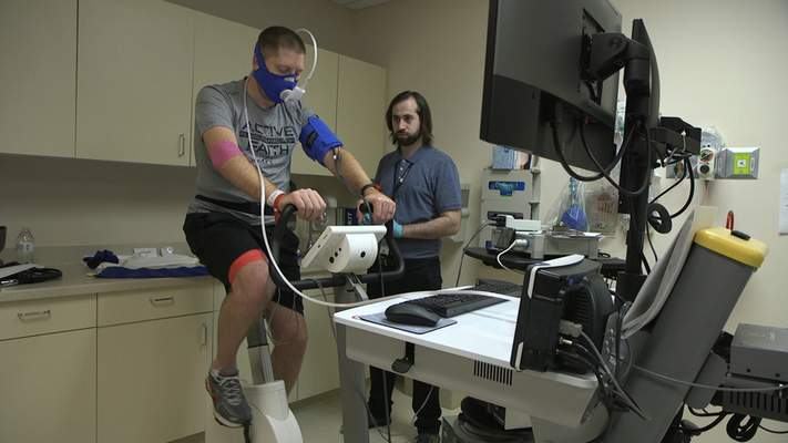Associated Press  Researchers have Zach Ault of Paducah, Ky., ride an exercise bike to gauge how his leg muscles use oxygen and nutrients to create energy.