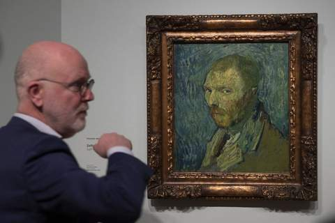 Netherlands Van Gogh Senior researcher Louis van Tilborgh talks to journalists about the previously contested painting by Dutch master Vincent van Gogh, a 1889 self-portrait, of which the authenticity was confirmed during a press conference in Amsterdam, Netherlands, Monday, Jan. 20, 2020. (AP Photo/Peter Dejong) (Peter Dejong STF)