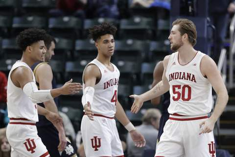 Notre Dame Indiana Basketball Associated Press Indiana has had success rebounding this year thanks to Trayce Jackson-Davis, left, who averages 8.2, and Joey Brunk, who has a 6.6 average.  (Darron CummingsSTF)