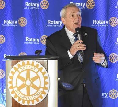 Michelle Davies | The Journal Gazette Mayor Tom Henry talks about his goals for the city with Fort Wayne Rotary Club members Monday at Parkview Field.