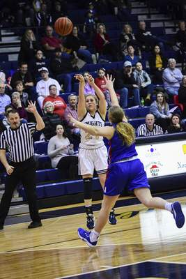 Mike Moore | The Journal Gazette Norwell junior Kaylee Fuelling shoots a 3-point basket in the second quarter against Jay County at Norwell High School on Tuesday.