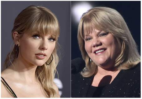 People Taylor Swift Mom This combination photo shows Taylor Swift at the American Music Awards in Los Angeles on Nov. 24, 2019, left, and Swift's mother Andrea Finlay at the 50th annual Academy of Country Music Awards in Arlington, Texas on April 19, 2015. (AP Photo) (STF)