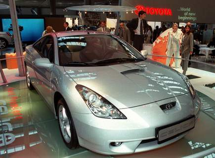 Toyota-Air Bag Recall FILE - In this Sept. 14, 1999, file photo Japanese car builder Toyota displays their latest version of the Celica at the Frankfurt international car fair, IAA. Toyota is recalling 361,000 more vehicles worldwide to replace Takata air bag inflators that could explode and hurl shrapnel. The recall covers gas and electric versions of the RAV4 SUV and the Celica sports car from 1997 to 1999. (AP Photo/Bernd Kammerer, File) (BERND KAMMERER