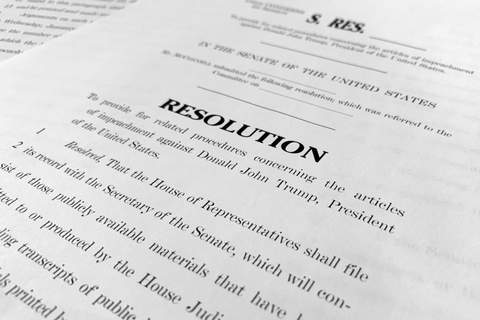 Trump Impeachment A copy of a Senate draft resolution to be offered by Senate Majority Leader Mitch McConnell, R-Ky., regarding the procedures during the impeachment trial of President Donald Trump in the U.S. Senate is photographed in Washington, Monday, Jan. 20, 2020. (AP Photo/Jon Elswick) (Jon Elswick STF)