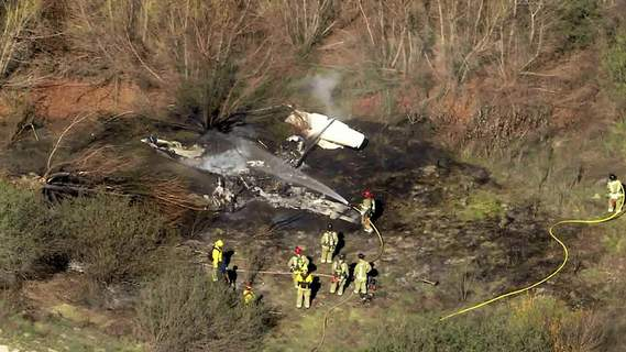 Plane Crash California Associated Press  Four people were killed  when a small plane  crashed and burned Wednesday at Corona Municipal Airport about 40 miles east of Los Angeles. (TEL)
