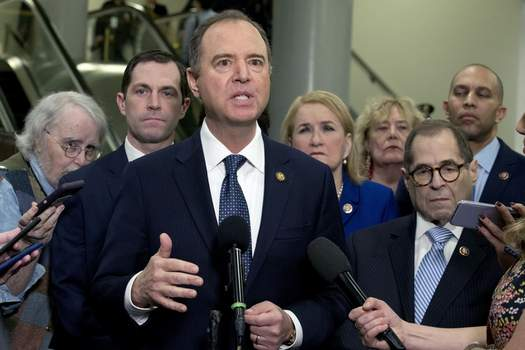 Trump Impeachment Associated Press House Intelligence Committee Chairman Adam Schiff, D-Calif., accompanied by the impeachment managers, speaks to reporters on Capitol Hill in Washington on Wednesday. (Jose Luis MaganaFRE)
