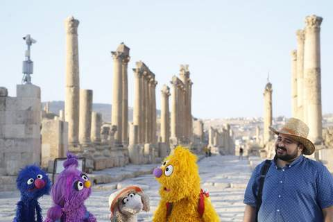"""TV Sesame Street Syrian Refugees Sesame Workshop From left, Grover, Basma, Ma'zooza and Jad with Rami Delshad, who portrays Hadi star in """"Welcome Sesame,"""" a new, Arabic TV program for children dealing with displacement in Syria, Iraq, Jordan and Lebanon. (HONS)"""