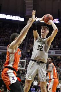 Illinois Purdue Basketball Associated Press Purdue center Matt Haarmswas unhappy with the way he played in Tuesday's loss to Illinois. (Michael ConroySTF)