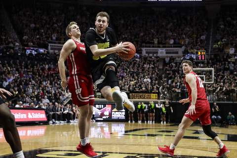 Wisconsin Purdue Basketball Purdue guard Sasha Stefanovic had 12 points, including three 3-pointers, in Purdue's 70-51 win over Wisconsin on Friday. (AP Photo/Michael Conroy) (Michael Conroy
