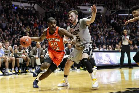 Illinois Purdue Basketball Sasha Stefanovic (right) and Purdue will try to get back on track tonight with a win over Wisconsin. (AP Photo/Michael Conroy) (Michael Conroy