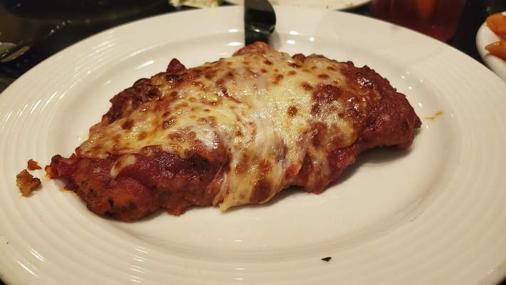 Veal parmigiana from Casa Grille Italiano on Stellhorn Road.