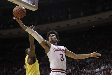 Maryland Indiana Basketball Indiana's Justin Smith had six points and eight rebounds in the Hoosiers' 77-76 loss to Maryland at Assembly Hall on Sunday. (AP Photo/Darron Cummings) (Darron Cummings STF)