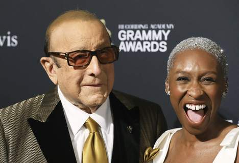 2020 Pre-Grammy Gala And Salute To Industry - Arri Clive Davis, left, and Cynthia Erivo arrive at the Pre-Grammy Gala And Salute To Industry Icons at the Beverly Hilton Hotel on Saturday, Jan. 25, 2020, in Beverly Hills, Calif. (Photo by Mark Von Holden/Invision/AP) (Mark Von Holden