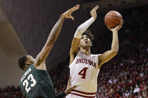 Michigan St Indiana Basketball Indiana forward Trayce Jackson-Daviswill have to be at his best against Maryland's star center Jalen Smith today at Assembly Hall.(AP Photo/Darron Cummings) (Darron Cummings STF)