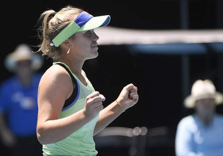 Australian Open Tennis Sofia Kenin of the U.S. celebrates her win over Tunisia's Ons Jabeur in their quarterfinal match at the Australian Open tennis championship in Melbourne, Australia, Tuesday, Jan. 28, 2020. (AP Photo/Andy Brownbill) (Andy Brownbill STR)