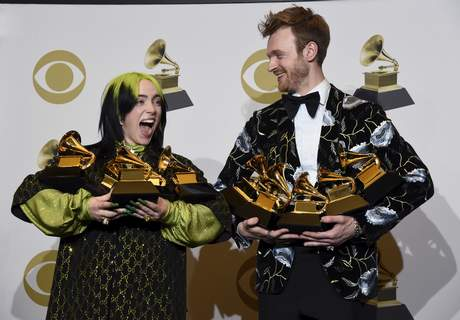 62nd Annual Grammy Awards - Press Room Billie Eilish, left, and Finneas O'Connell pose in the press room with the awards for best album, best engineered album and best pop vocal album for
