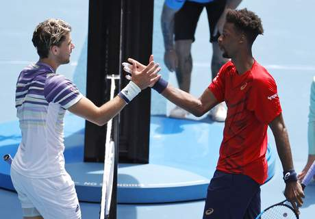 Australian Open Tennis Austria's Dominic Thiem, left, is congratulated by France's Gael Monfils after winning their fourth round singles match at the Australian Open tennis championship in Melbourne, Australia, Monday, Jan. 27, 2020.(AP Photo/Andy Wong) (Andy Wong