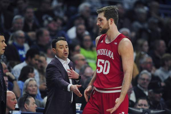 Indiana center Joey Brunk will try to get Ohio State forward Kaleb Wesson in foul trouble and avoid fouling on the defensive end against the Buckeyes today.(AP Photo/Gary M. Baranec)