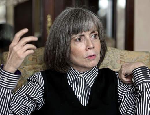 FILE - In this Oct. 26, 2005 file photo, author Anne Rice talks about her new book during an interview at her home in La Jolla, Calif. (AP Photo/Lenny Ignelzi)