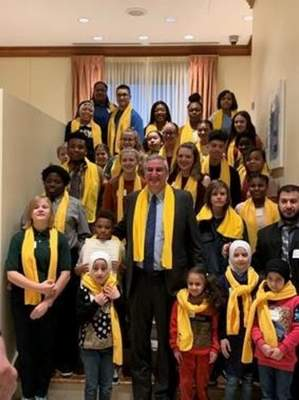 Photo courtesy Joel Weyrauch Gov. Eric Holcomb poses with students and parents attendinga National School Choice Week breakfast at the Conrad Hotel in Indianapolis Wednesday.