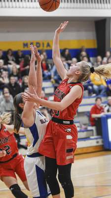 Mike Moore   The Journal Gazette Fremont guard Jada Rhonehouse puts up a shot in the third quarter against Blackhawk during the IHSAA Girls Basketball Sectional at Blackhawk Christian High School on Friday.