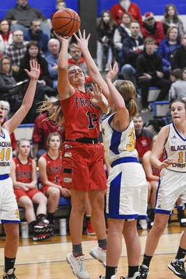 Mike Moore   The Journal Gazette Fremont guard Macayla Guthrie puts up a shot in the third quarter against Blackhawk during the IHSAA Girls Basketball Sectional at Blackhawk Christian High School on Friday.