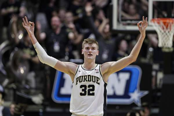 Michael Conroy | Associated Press Purdue center Matt Haarms drew the ire of Indiana fans at Assembly Hall last season, but tipped in a shot in the closing seconds to secure a 48-46 win for the Boilermakers. He returns to Bloomington with Purdue today.