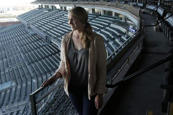 Associated Press Alyssa Nakken, shown at San Francisco's Oracle Park, is the first female coach on a major league staff in baseball history.