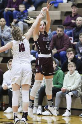 Mike Moore | The Journal Gazette Garrett sophomore Nataley Armstrong takes a shot at the basket in the second quarter against Concordia during the IHSAA Girls Basketball Sectional Championship at Concordia Lutheran High School on Saturday.