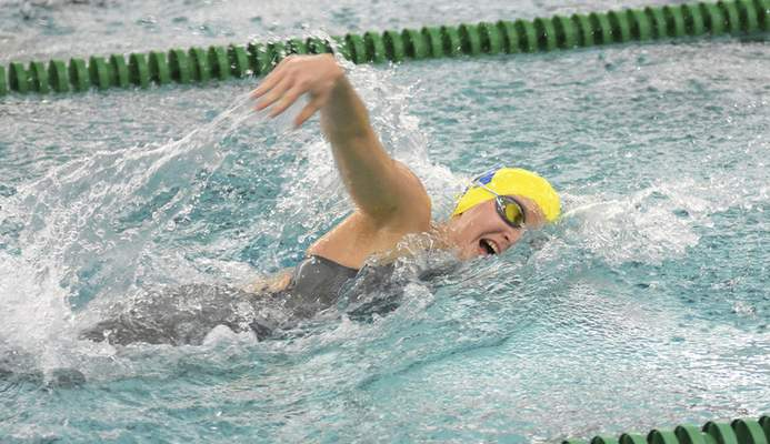 Katie Fyfe   The Journal Gazette  Homestead junior Ella Sackett competes in the 200-yard freestyle during the Sectional Swimming & Diving Finals at the Helen P. Brown Natatorium on Saturday.