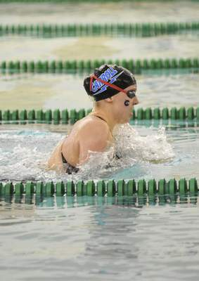 Katie Fyfe   The Journal Gazette  Carroll senior Mallory Jackson finishes in first place in the 200 Individual Medley during the Sectional Swimming & Diving Finals at the Helen P. Brown Natatorium on Saturday.