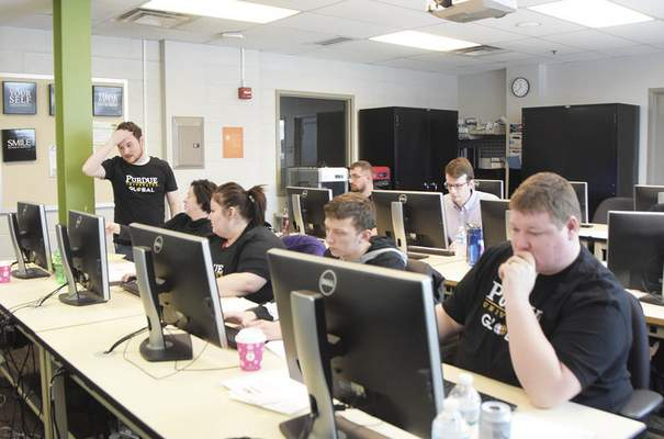 Katie Fyfe | The Journal Gazette The Indiana Tech Cyber Warriors, winners of the last five and 12 total state championships, participate in the Indiana Collegiate Cyber Defense Competition on Saturday, February 8th, 2020.
