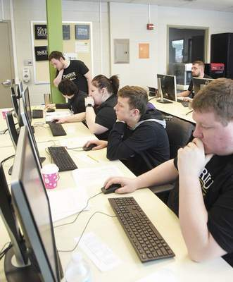 Katie Fyfe | The Journal Gazette  Purdue University competes in the Indiana Collegiate Cyber Defense Competition on Saturday, February 8th, 2020.